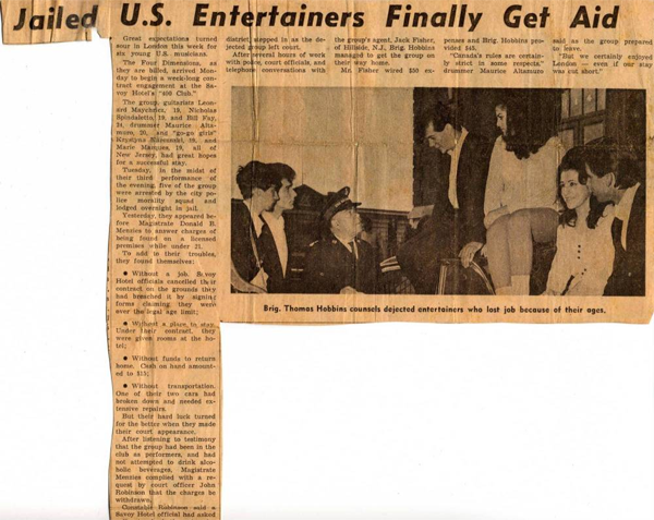 A news clipping from the London Times, in Ontario, Canada, showing the group, &quotThe Four Dimensions,&quot getting assistance from the Canadian Salvation Army to post bail, and pay for expenses back to the U.S., after the band was arrested, and the Canadian tour canceled, because some of the members were underage. This is the only photo of the band.